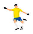 cool soccer player in a yellow shirt on white vector image