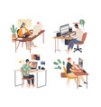 creative people working in their workplaces vector image