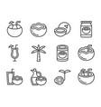 cute coconut icon set vector image