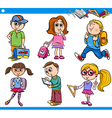 cute primary school children cartoon set vector image