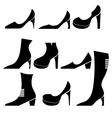 Different Womens Shoes Silhouettes vector image