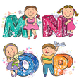 Funny alphabet with kids MNOP vector image
