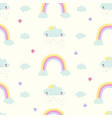 hand draw clouds and butterflies seamless pattern vector image vector image