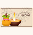 happy navratri celebration lettering with candle vector image vector image