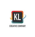 initial letter kl swoosh creative design logo vector image vector image
