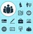job icons set collection of group diagram work vector image vector image