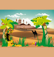 landscape-fortress in the desert palm and wild vector image vector image
