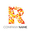 letter r logo with orange yellow red particles vector image
