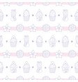 pastel floral striped pattern with cacti vector image vector image