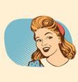 retro smiling woman portrait face color vector image vector image