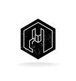 Rock hand linear style hex geometric logo with vector image vector image