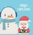santa claus and snowman with scarf merry christmas vector image vector image