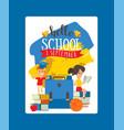 school schoolchild character boy girl vector image