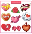 set candy hearts icons for valentines day vector image