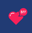 simple bff word with pink heart vector image
