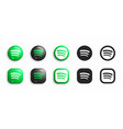 spotify modern 3d and flat icons set vector image