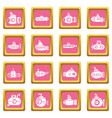 submarine icons set pink square vector image vector image