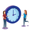 time clock with teamwork isometric icon vector image vector image