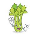 waving celery character cartoon style vector image vector image