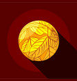 yellow planet icon flat style vector image vector image