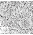 abstract flowers sketch background vector image