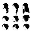hairstyle side view man and woman black vector image