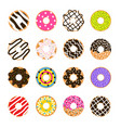 donut set isolated on white doughnut vector image