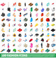 100 fashion icons set isometric 3d style vector image vector image