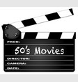 50s movies clapperboard vector image vector image