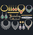 a fashionable collection jewelry necklaces vector image vector image