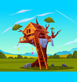 abandoned house on tree empty scary playground vector image vector image