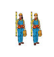 african and caucasian woman builder with vector image vector image