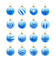 blue christmas balls set vector image