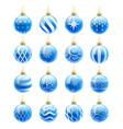 blue christmas balls set vector image vector image