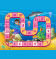 boardgame template with kids swimming underwater vector image vector image