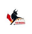 bull firework company logo concept design vector image vector image