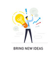 businessman holding a light bulb offers new ideas vector image vector image