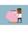 Businessman repairs damaged piggy bank vector image vector image