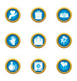 care icons set flat style vector image vector image