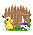 Cartoon chicken with paintbrush vector image vector image