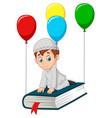cartoon muslim schoolboy flying on a book vector image vector image