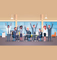 cheerful business team sitting together at desk vector image