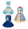 collection of classic dresses blue with pink vector image