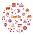 color line icon round set india culture vector image vector image