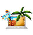 Computer screen with summer on the beach vector image