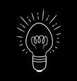 cute elongated glowing glass light bulb on black vector image