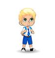 cute little blonde school boy with big green eyes vector image vector image