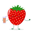 cute strawberry cartoon character holding a glass vector image vector image