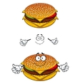 Delicious tasty sesame cheeseburger character vector image vector image