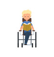 disabled man sitting in wheelchair reading a book vector image